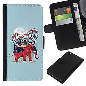 KLONGSHOP // Tirón de la caja Cartera de cuero con ranuras para tarjetas - Blue Elephant Naturaleza Luna Animal - HTC DESIRE 816 //