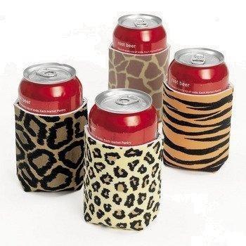 Lote de 12 aislantes para latas con diseño de pieles de animales Oriental Trading Company 12print