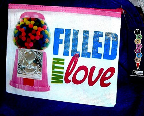 (ISCREAM Reusable Cosmetic Bag Make Up Case (Gumballs Filled With Love))