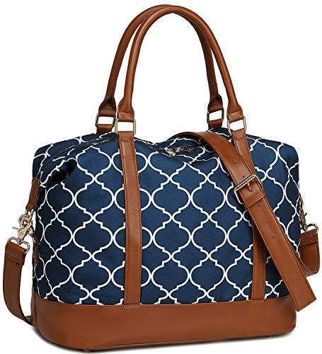 - Women Ladies Weekender Bag Overnight Carry-on Tote Duffel in Trolley Handle (Geom Navy Blue)