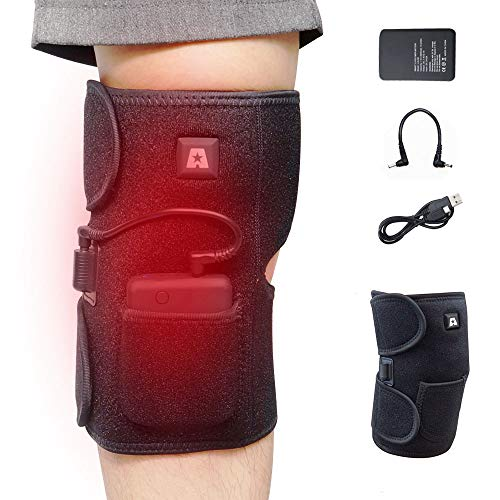 (Heated Knee Brace Wrap Support/Therapeutic Electric Heating Pad for Knee W/Rechargable 7.4V 2600Mah Battery for Joint Pain, Arthritis Meniscus Pain Relief)
