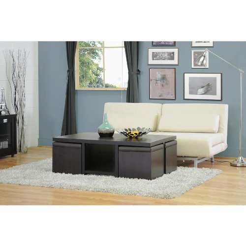 Baxton Studio Prescott 5-Piece Modern Table and Stool Set with Hidden Storage