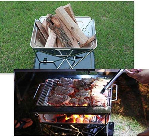 Monrodbitt Barbecue en Acier Inoxydable en Plein air Grill Multifonctionnel à Charbon de Bois Pique-Nique Pliant Poêle à Charbon Multi-Personnes Barbecue Trompette