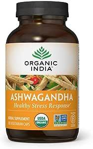 Organic India Ashwagandha Herbal Supplement - Stress Response Support, Vegan, Gluten-Free, Kosher, USDA Certified Organic, Non-GMO, Supports Mood, Endurance, Vitality & Strength - 180 Capsules