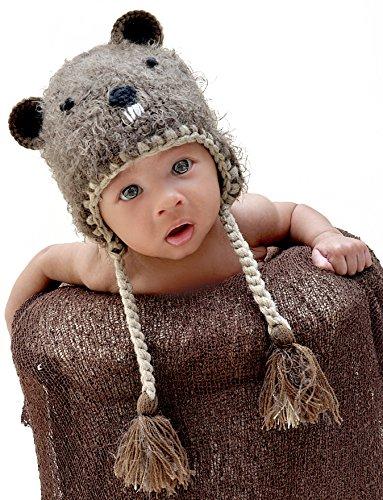 - Huggalugs Boys or Girls Bucky Beaver Beanie Hat Medium (6-24m) Brown