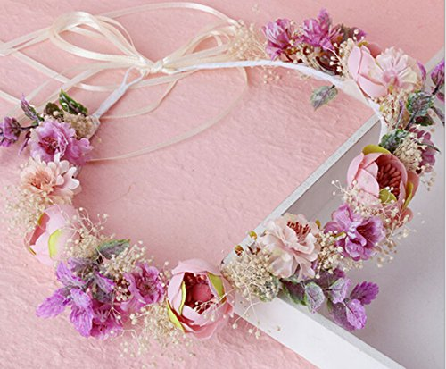 Vivivalue Breath Dried Preserved Fresh Flower Wreath Headband Crown for Festival Wedding Pink