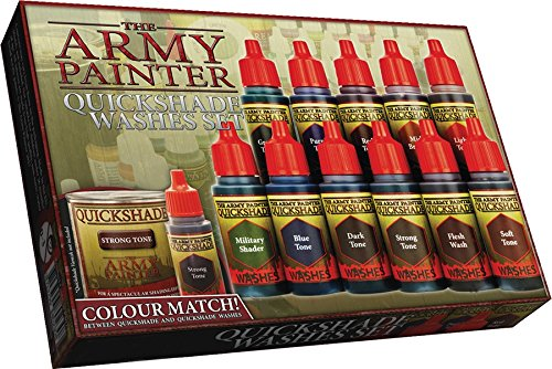 e Paint Washes in Dropper Bottles - Rich Pigment Fluid Acrylic Paint Washes Miniature Painting Kit, Liquid Acrylic Paint Set - Warpaint Quickshade Wash Set by The Army Painter (Army Systems Model)