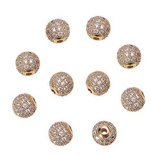 LUXPACK 10pcs 8mm Brass Clear Gemstones Cubic Zirconia CZ Stones Pave Micro Setting Disco Ball Spacer Beads, Round Bracelet Connector Charms Beads for Jewelry Making, Gold ()
