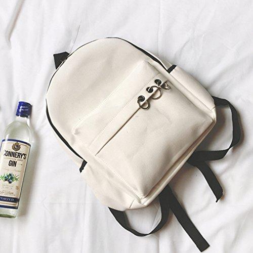BAGEHUA Jungen Mädchen Schüler Mode Canvas Rucksack Farbe tragbaren Rucksack 14 Zoll Laptop Rucksack white