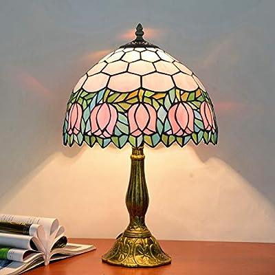 EAHKGmh Pantalla de lámpara de escritorio antiguo vidrio manchado ...