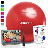 Image of Exercise Ball (Multiple Sizes) for Fitness, Stability, Balance & Yoga - Workout Guide & Quick Pump Included - Anti Burst Professional Quality Design (Red, 65CM)