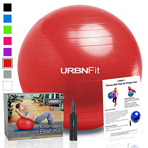 Exercise Ball (Multiple Sizes) for Fitness, Stability, Balance & Yoga - Workout Guide & Quick Pump Included - Anti Burst Professional Quality Design (Red, 65CM)