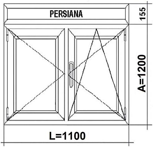 Ventana pvc 1100x1355 con Persiana 2 hojas Practicable Oscilobatiente