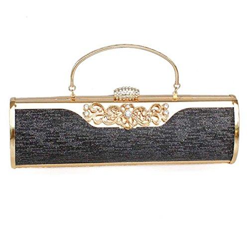 PU Brillante Señoras Cena Bolsa Impreso Magnético Hebilla Niñas Bolsa De Hombro Black