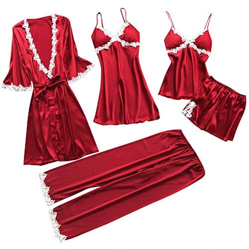 Girls Long Sleeved Fleece Robe - Women Lace Pajamas Sets Satin Women Sexy Underwear Robe Sleepwear Kit Sleeveless Nightwear Pijama Mujer(M,Red)