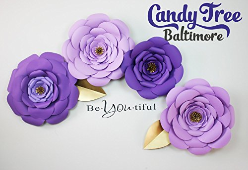 Paper flowers backdrop of 4 large paper flowers by Candy Tree Baltimore