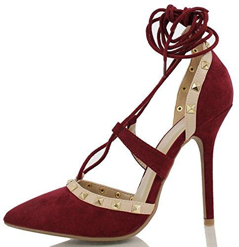 Arc-en-Ciel los zapatos de las mujeres del cordón tachonadas en punta tacón alto sandalia Burgundy