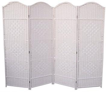 4 Panel White Wicker Screen Room Divider