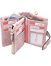 RFID Leather Wallets for Women Ladies Wristlet Clutch Large Capacity Zipper Purse for Coins Card Holder Organizer (Pink)
