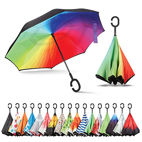 Sharpty Inverted Umbrella, Umbrella Windproof, Reverse Umbrella, Umbrellas for Women with UV Protection, Upside Down Umbrella with C-Shaped Handle (Rainbow) (Best Looking Minecraft Houses)