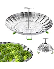 "Steamer Basket Stainless Steel Veggie Steamer Basket for Cooking Folding Vegetable Steamer Insert Steaming Basket Adjustable Expandable to fit Various Size Pot (5.1"" to 9"")"