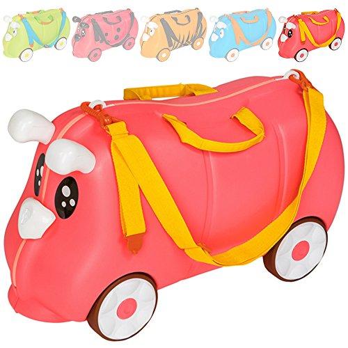 TecTake Kinder Hartschalen Koffer Ziehkoffer mit gummierten Rädern inkl. Trageriemen - diverse Farben - (Seepferd pink | Nr. 401520)