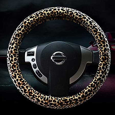 Duoying Leopard Auto Lenkradbezug Dreiteiliges Set Plüsch Set Mit Leopardenmuster Multi Color Variable Ginseng Beige Auto