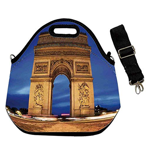 Paris Decor Waterproof Neoprene Lunch Bag,Arc de Triomphe Paris France at Night. View from Avenue des Champs Elysees for Commercial Takeaway Barbecue,With Shoulder Straps(12.6''L x 6.3''W x 12.6''H)