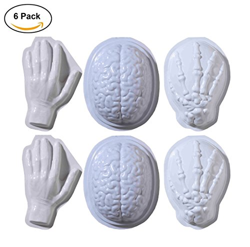6-Pack Brains, Human Hands, Skeleton Hands Food and Jello Mold Halloween Decoration- Scary Gelatin Molds by Express Novelties (Jello Shot Halloween Costume)
