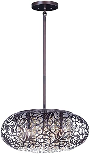 Maxim 24155CGOI Arabesque Patterned Metal Beveled Crystal Glass Pendant Ceiling Lighting