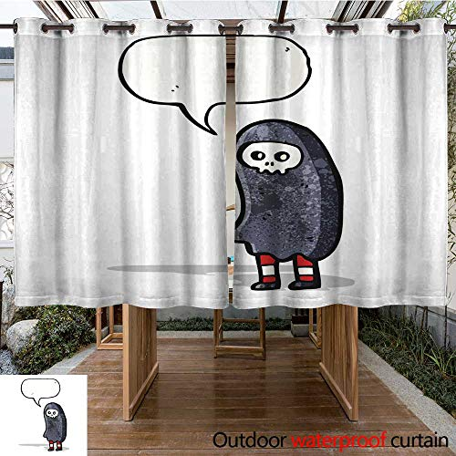 RenteriaDecor Outdoor Curtains for Patio Waterproof Halloween Cosume Cartoon W84 x L72 -