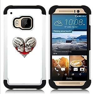 BullDog Case - FOR/HTC ONE M9 / - / HEART SKULL BLOOD LOVE BONES WHITE /- H??brido Heavy Duty caja del tel??fono protector din??mico - silicona suave