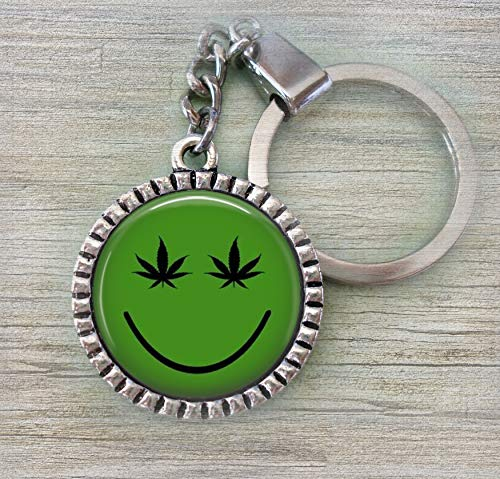 - Marijuana Smiley Keychain or Zipper Pull, Cannabis, Weed, Pot, 420 * hand-crafted with lOve