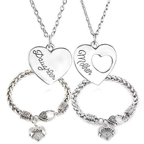 MIKINI Silver Plated Mother Daughter Jewelry - Mother Daughter Heart Pendant Set of 2 Necklaces & Mom Daughter Heart Charm Bracelets -Set of 2 - Charm 1 Heart Mom