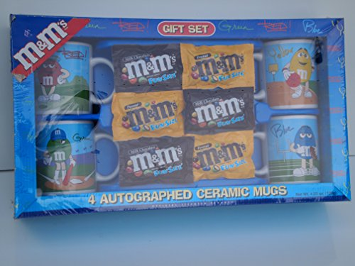 M&M Gift Set 4 Autographed Ceramic Mugs, Includes the candy ()
