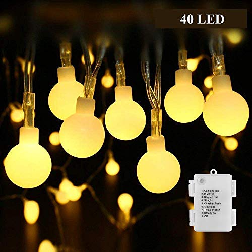 String Light Battery Operated, Ball String Lighting for Bedroom, Outdoor Globe String Light for Garden Tree Party Wedding, B-right 15Ft 40 LED Starry Light Waterproof, 8 -