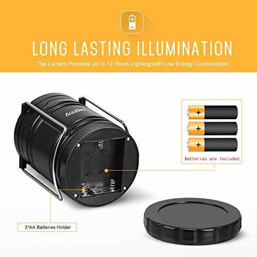 2 Pack LED Camping Lantern, Auledio Portable Outdoor Collapsible LED Lantern Flashlights for Hiking, Reading, Emergencies, Hurricanes