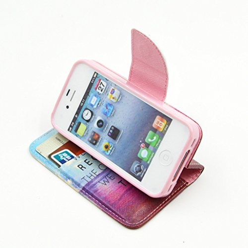 iPhone 4 4s Case, Yaobai flip en cuir PU Wallet Card *** Magnetic PU cuir Wallet *** stand Case titulaire de la carte Shell cute adorable [animal] flip PU Housse en cuir Housse Wallet Card avec plusie