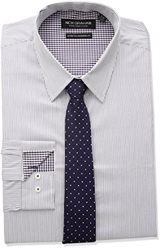 Nick Graham Men's Modern Fitted Pencil Strip Stretch Shirt with Micro Neat tie, Purple, L-L 34/35