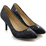 Carol Shoes Fashion Women's Shiny Sequins Sexy Bling Bling Pointed Toe Middel Heel Dress Pumps Shoes