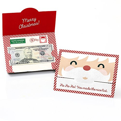 Jolly Santa Claus - Holiday & Christmas Money and Gift Card Holders - Set of 8 (Holder Santa Card Gift)