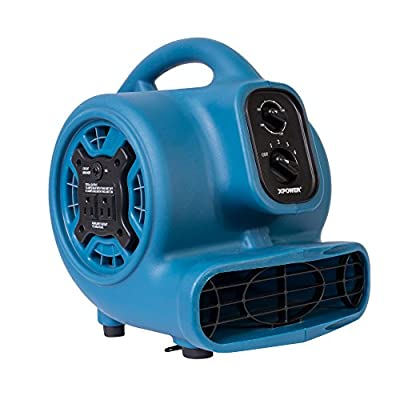 XPOWER P-230AT 1/5 HP 800 CFM 3 Speeds Mini Air Mover with 3-Hour Timer and Built-In Dual Outlets for Daisy Chain