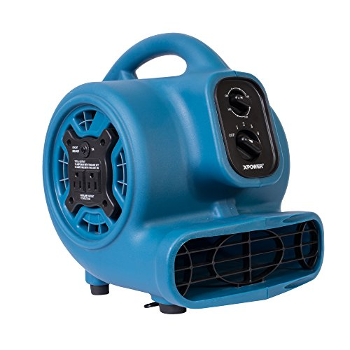 XPOWER P-230AT 1/5 HP 800 CFM 3 Speeds Mini Air Mover with 3-Hour Timer and Built-In Dual Outlets for Daisy Chain, 2.3-Amp ()