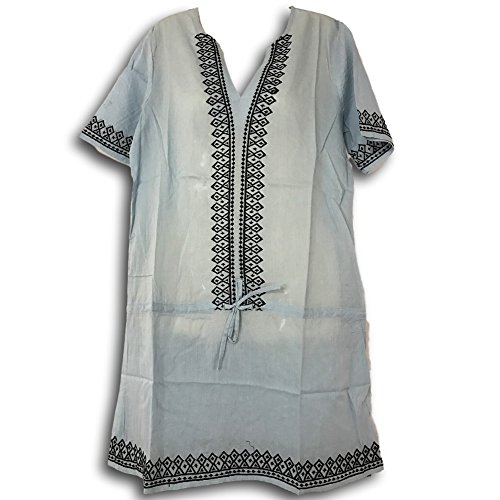 Buy embroidered cotton tunic dress - 8