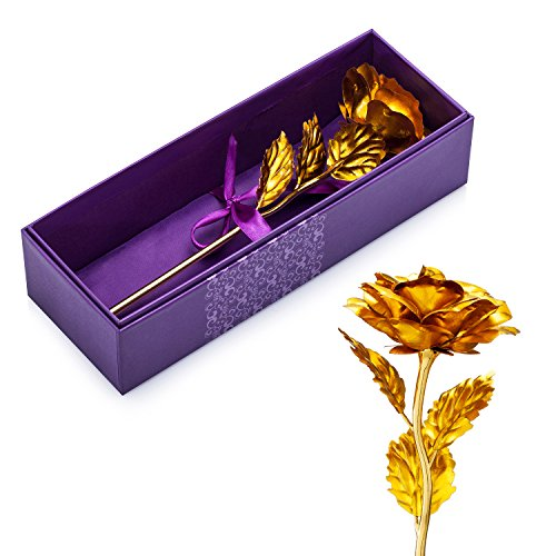 9.8-inches Gold Foil Rose - Best Valentine's Day Gifts - Handcrafted & Last Forever! Gift Box and Gift Card Included (Gold)