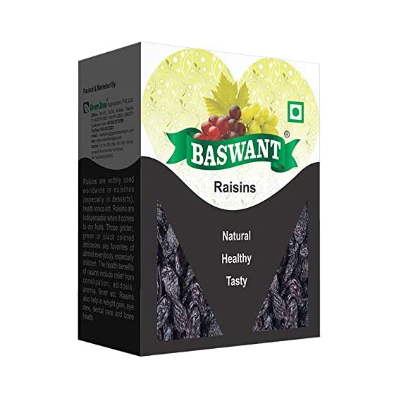 Baswant Premium Jumbo Black Seedless Raisins, - 500g | Indian Raisin | Kismis | Dry Grapes | Amazing Value Pack | Kishmish from Grapes Capital of India Nashik