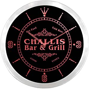 ncu07658-r CHALLIS Family Name Bar & Grill Cold Beer Neon Sign LED Wall Clock