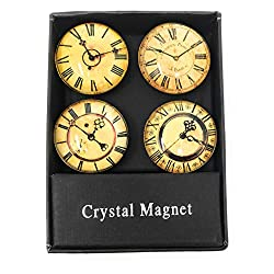 Value Arts French Inspired Vintage Clock Glass Dome Magnets, Assorted Set of 4