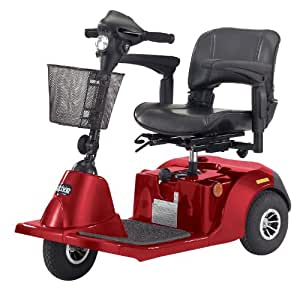 Drive Medical Daytona 3 GT Medium Sized 3 Wheel Scooter with Comfortable Padded Seat, Red, Medium