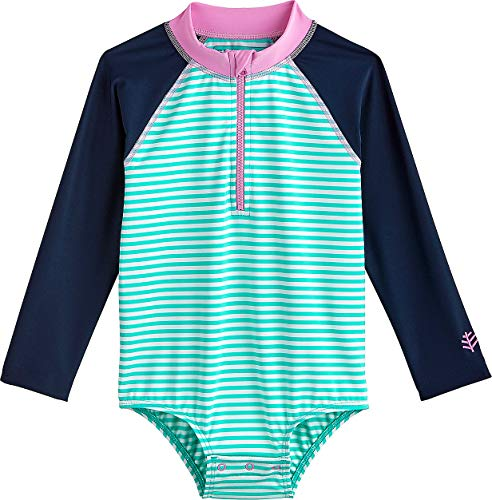 Coolibar UPF 50+ Baby Wave One-Piece Swimsuit - Sun Protective (18-24 Months- Tropical Mint Stripe) (Protective Baby Suit)